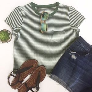 •Madewell• Stripe Easy Crop Tee Army Green Pocket